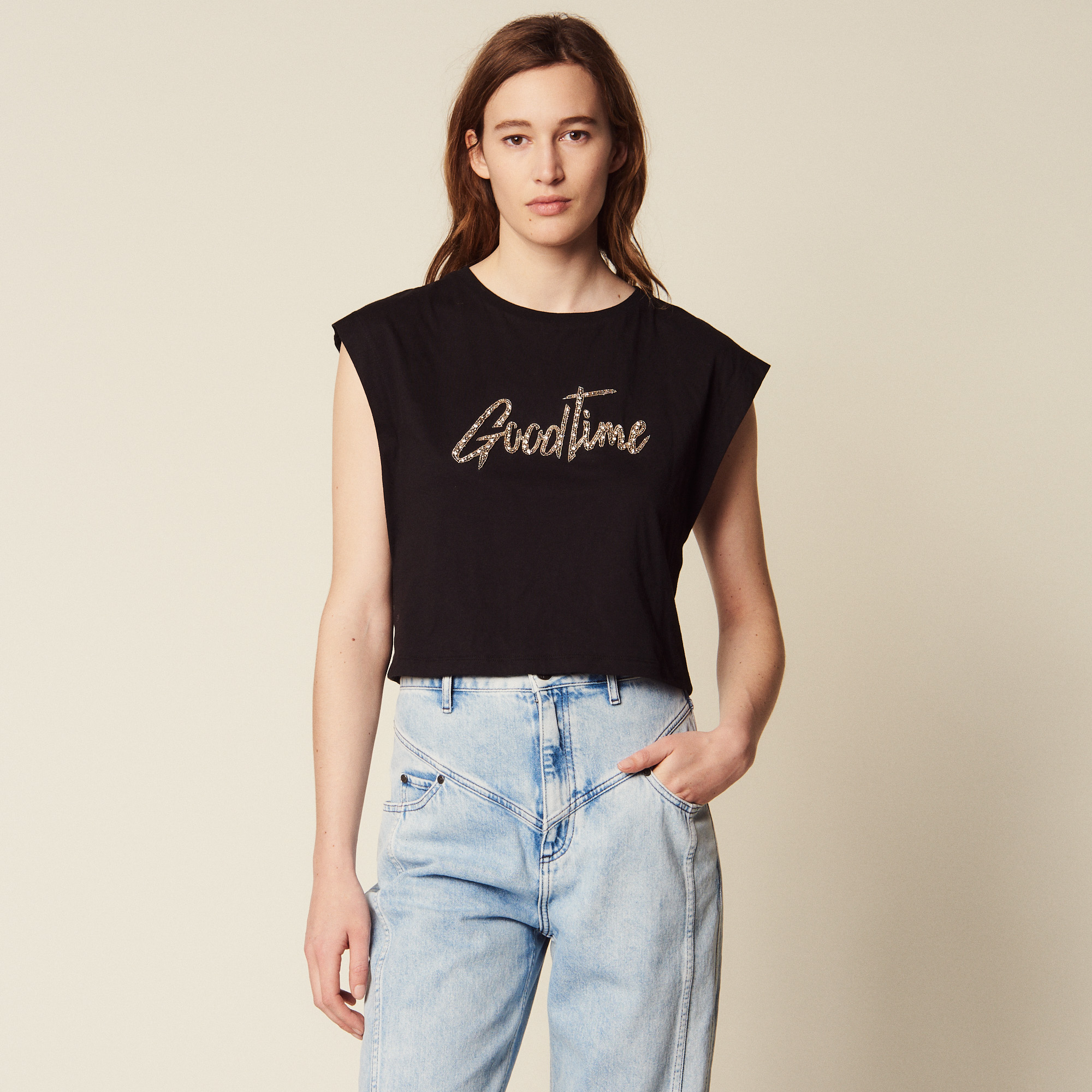 91625ba8 ... Cropped T-Shirt With Beaded Lettering : Tops & Shirts color Black ...