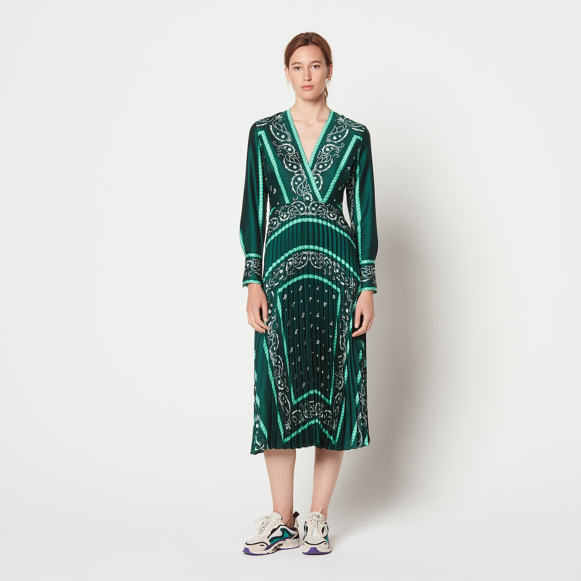 Long Dress With Scarf Prints - Dresses