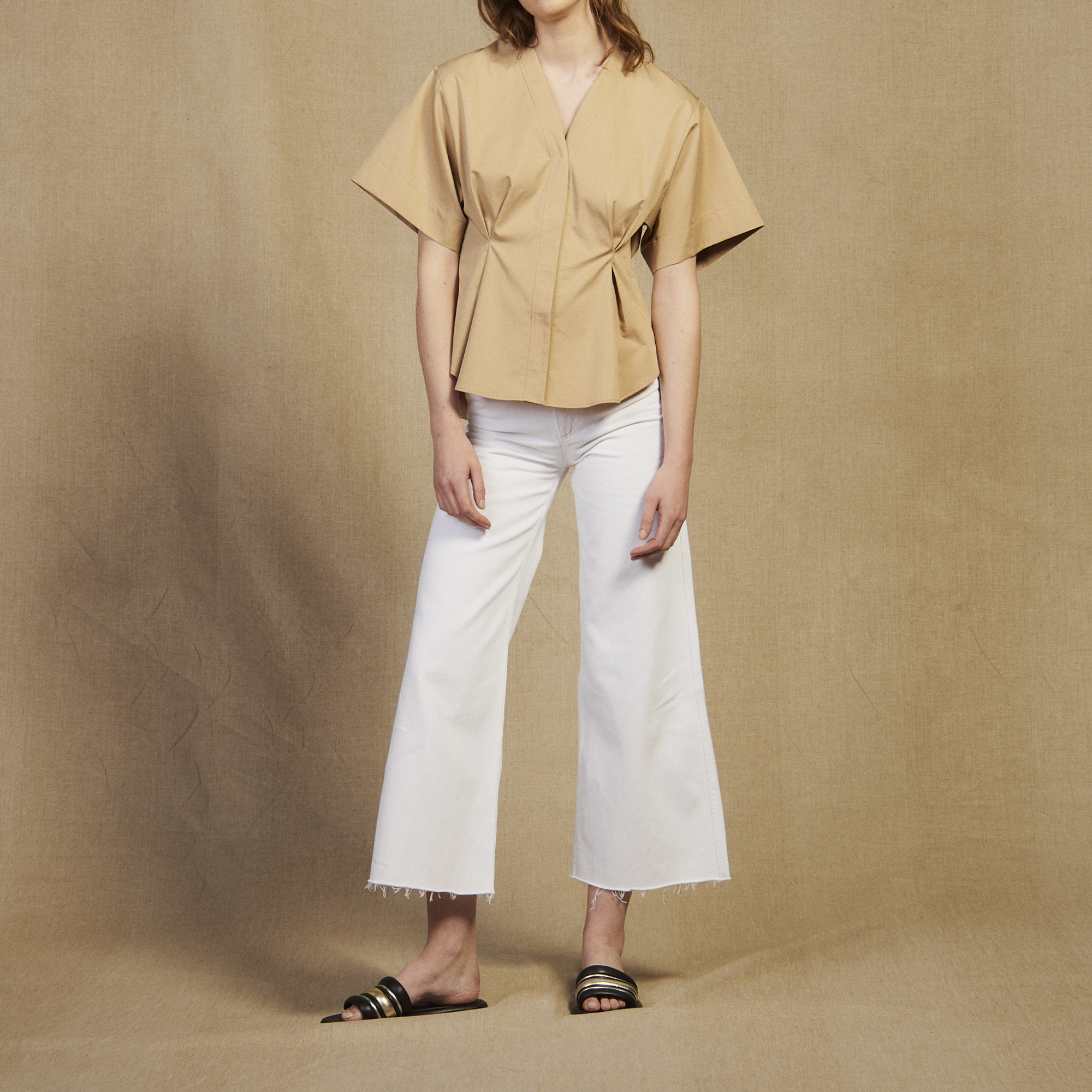 07814d0929fde Short-sleeved cotton blouse   Tops   Shirts color Beige ...