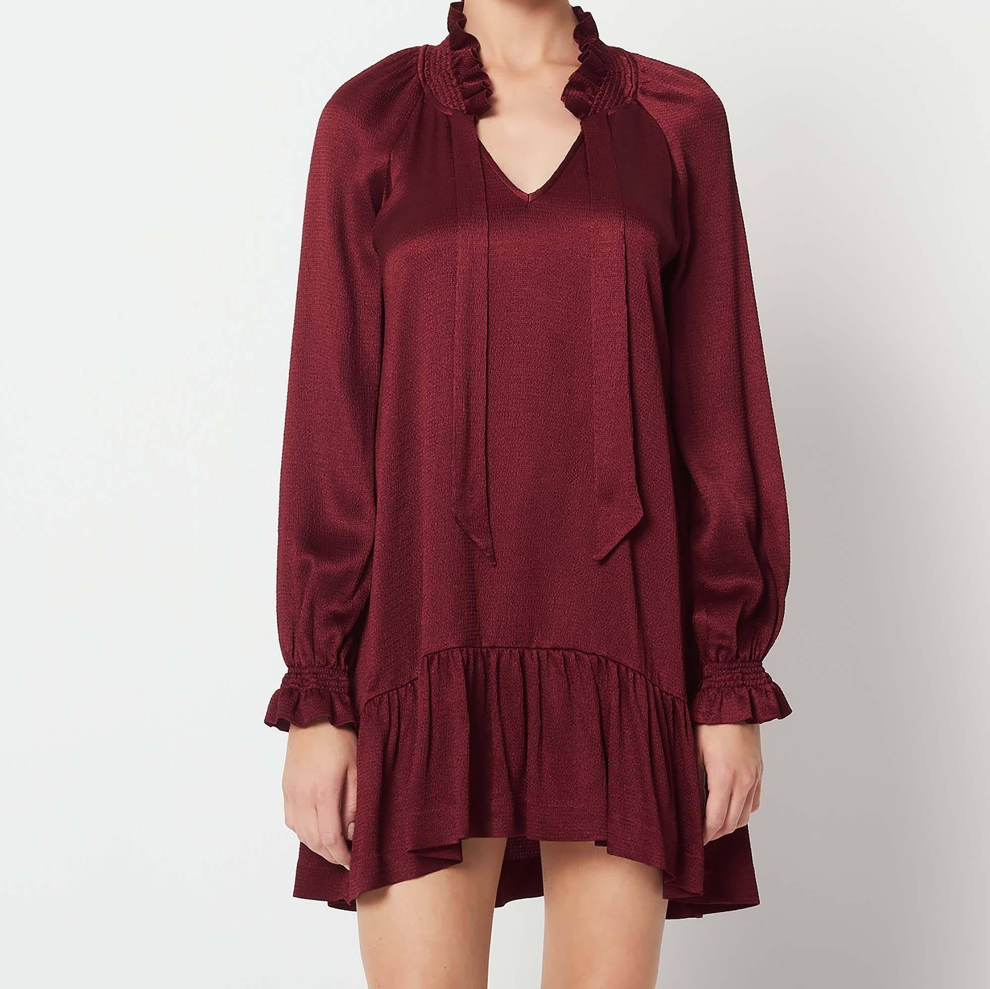 Short Dress With Little Ruffles Dresses Color Burgundy