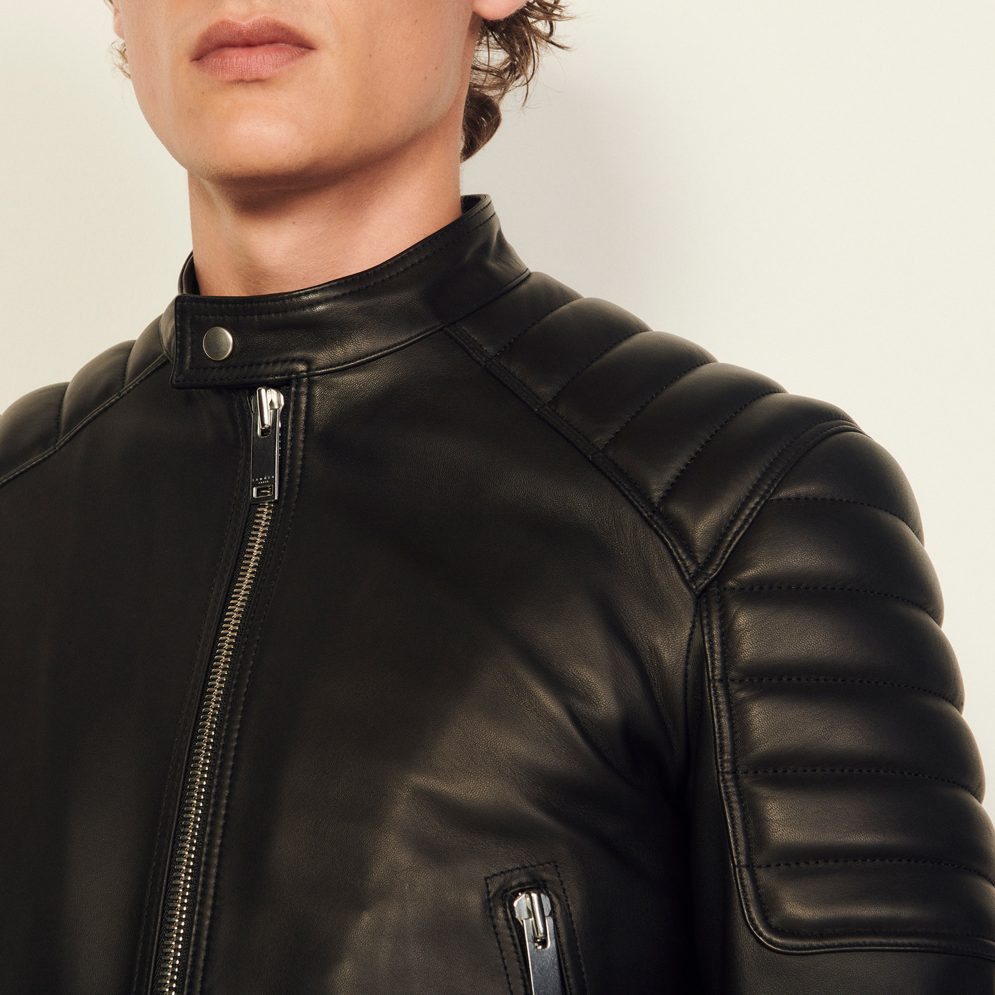 71275b902 Leather Jacket With Quilted Trims