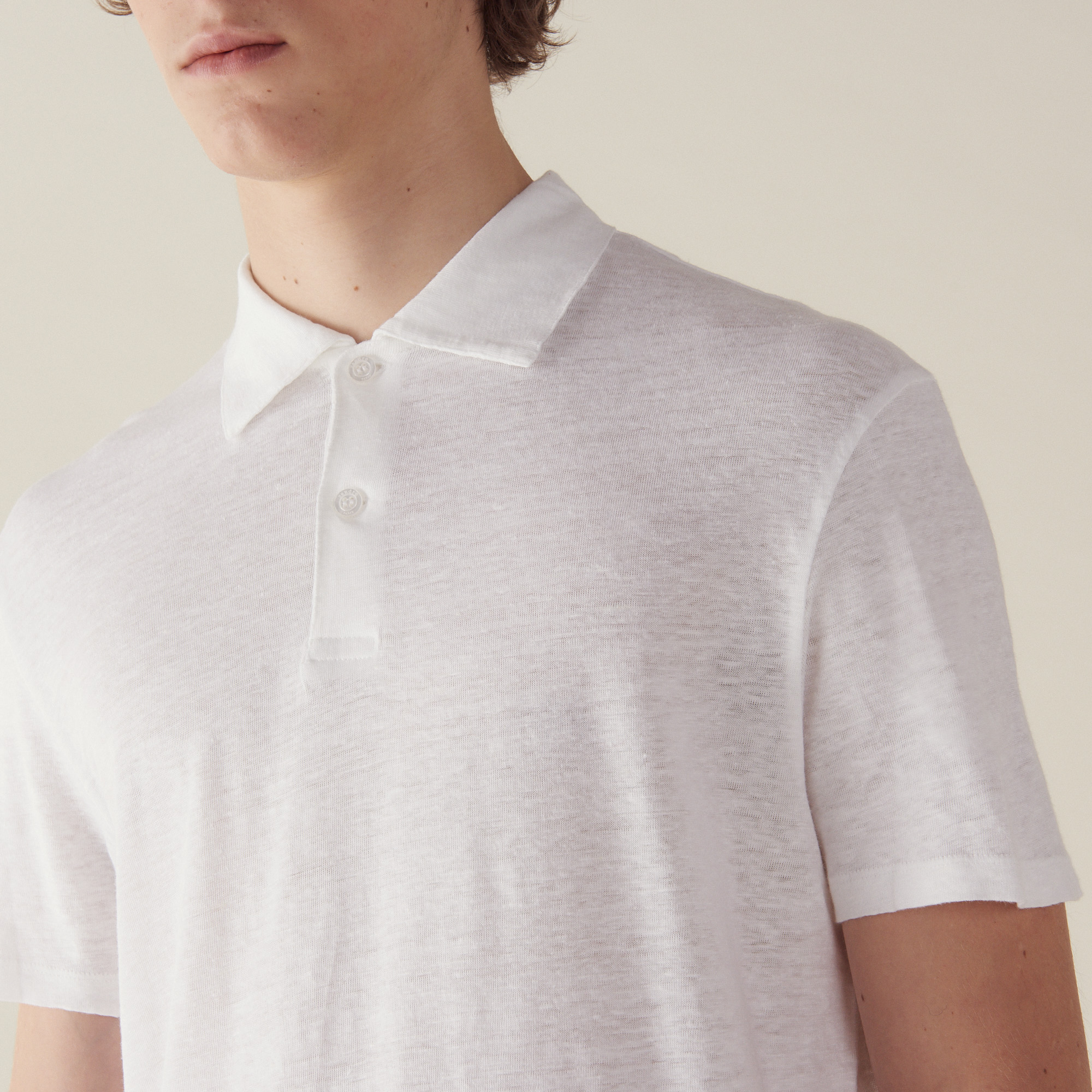 Short Sleeved Linen Polo Shirt T Shirts Polos Sandro Paris