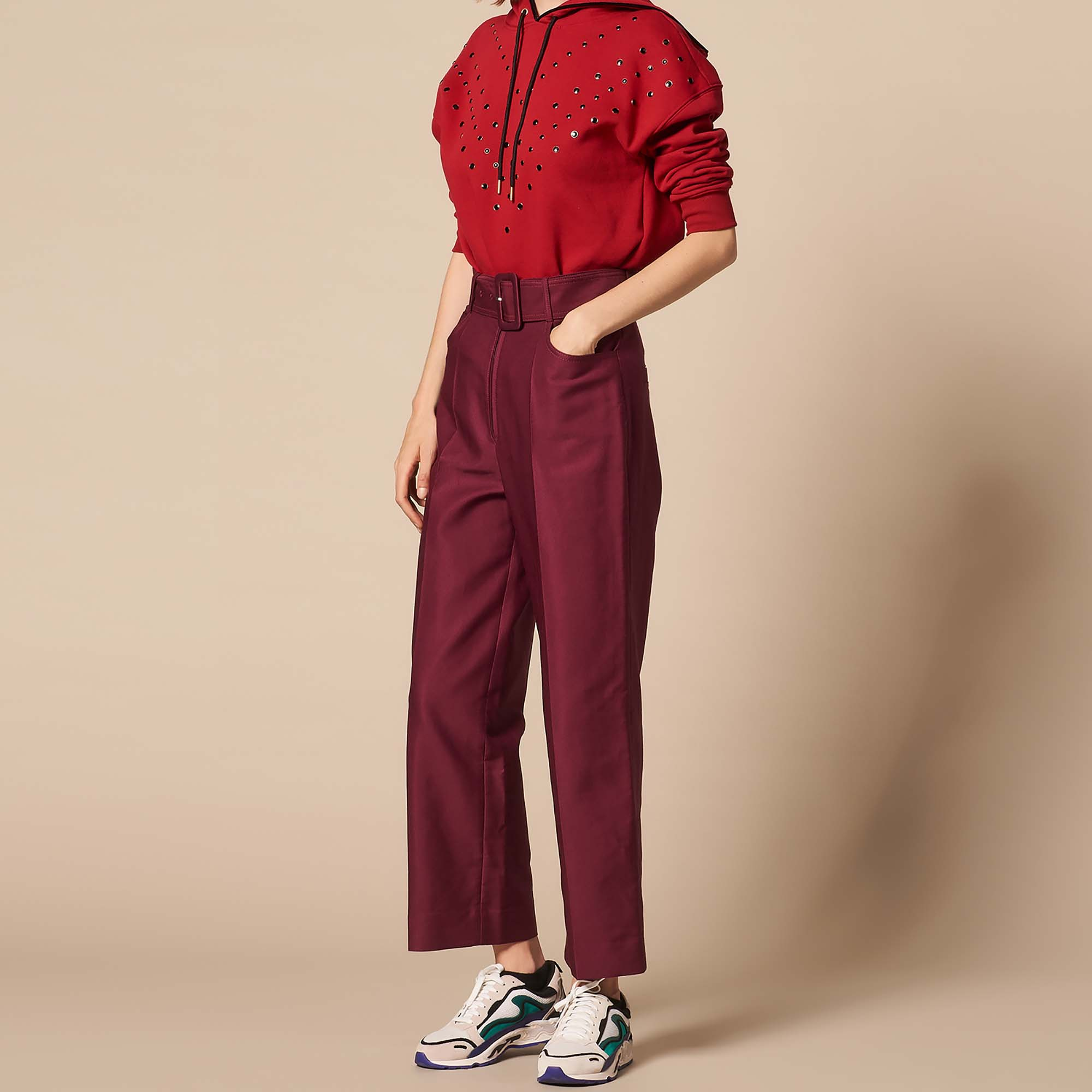 Belted High Waisted Trousers Pants Shorts Sandro Paris