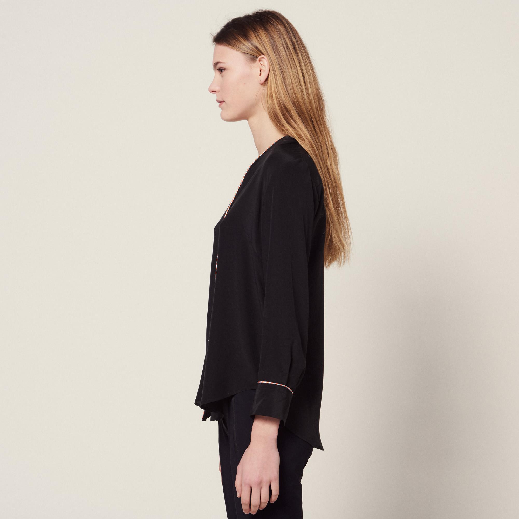 b3561d51d2d3a ... Low-cut silk shirt   Tops   Shirts color Ecru ...