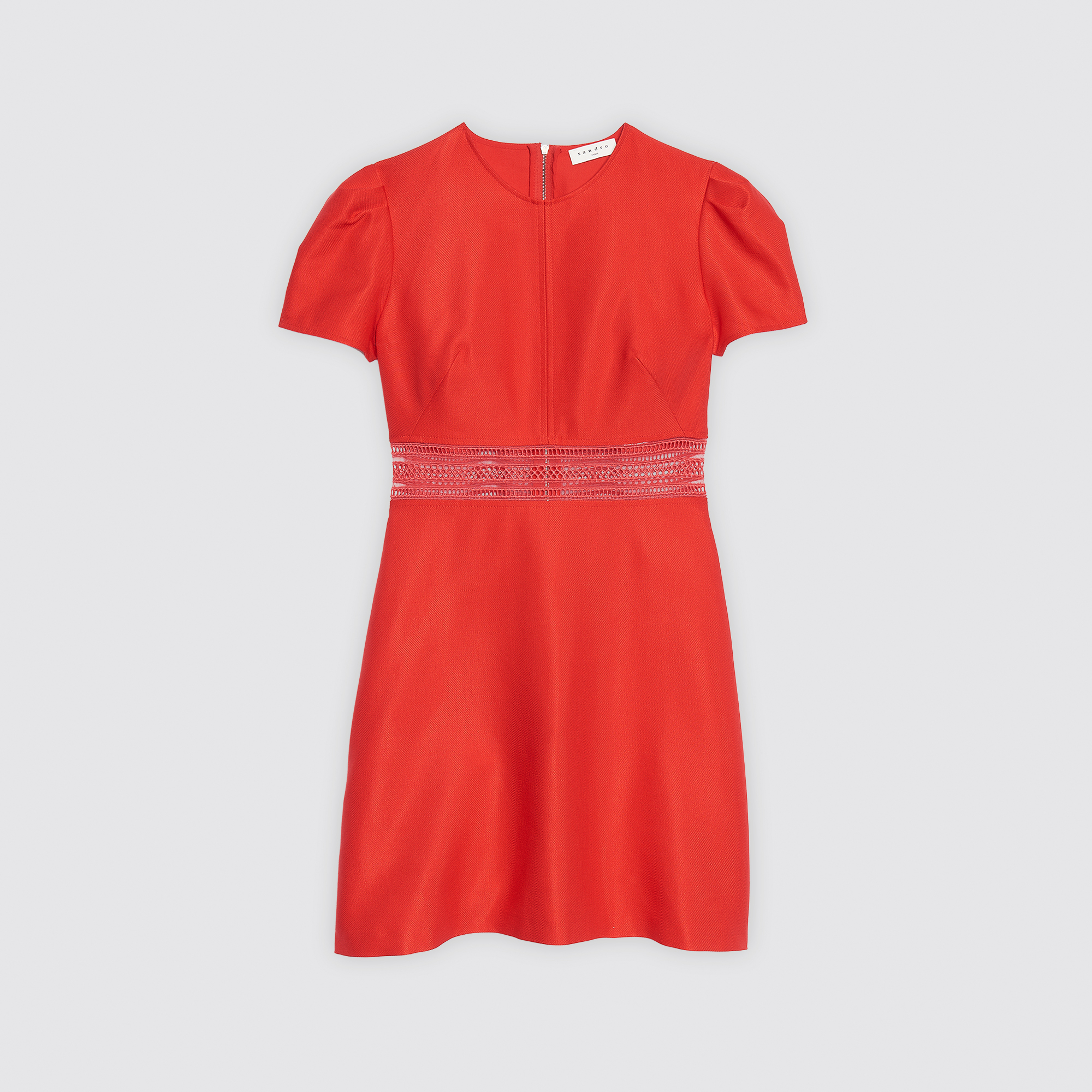 1bf90a8a57 ... Dress with transparent embroidery   Dresses color Scarlet red