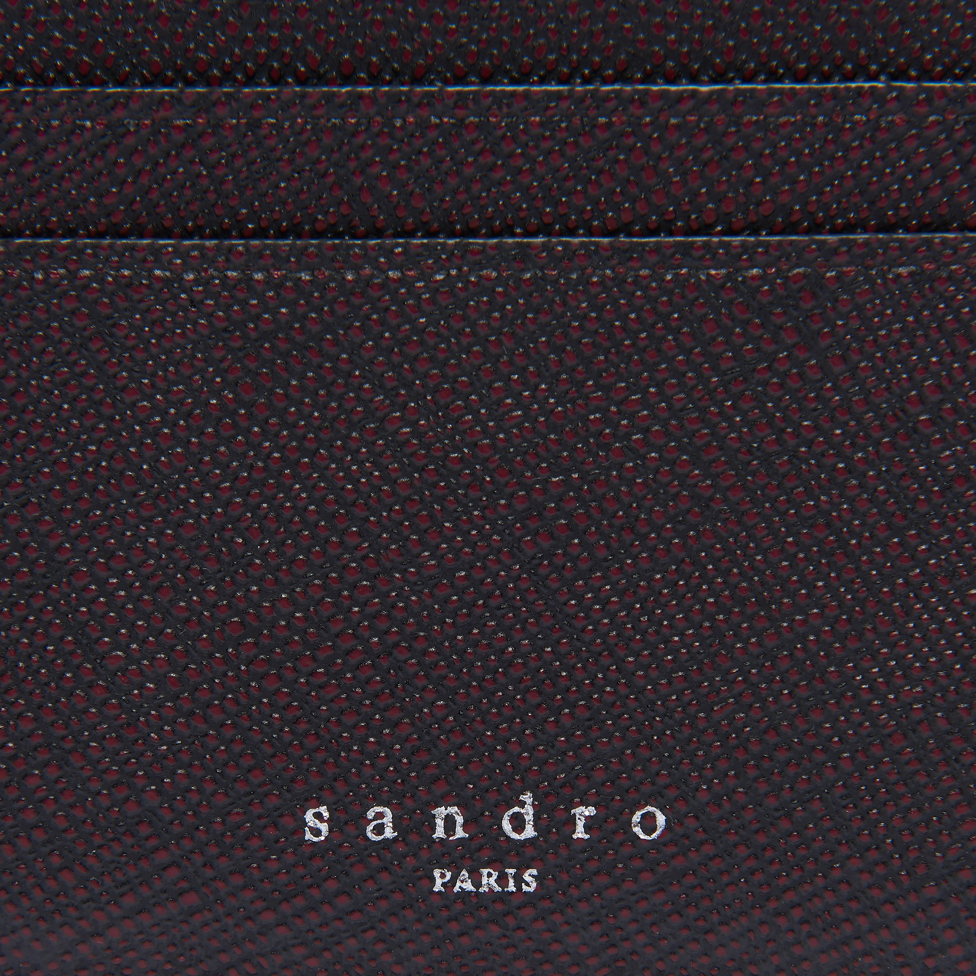 098169d2a9d8 ... Two-tone saffiano leather card holder   Leather Goods color Burgundy  red Black