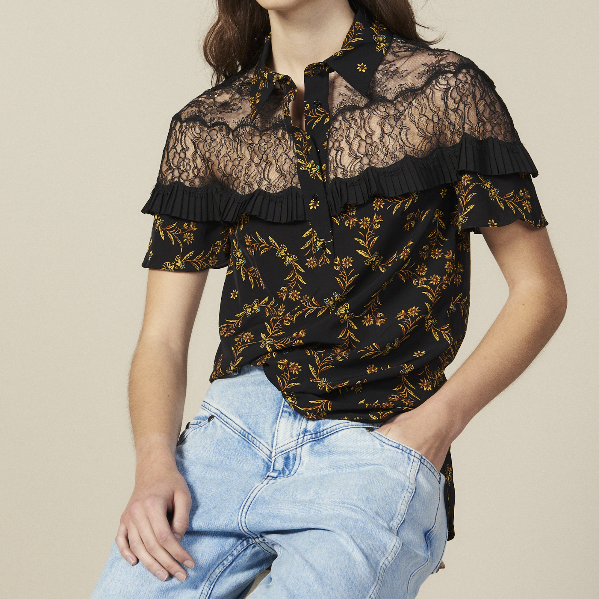 96eed75ce Short-Sleeved Printed Shirt : Tops & Shirts color Black ...
