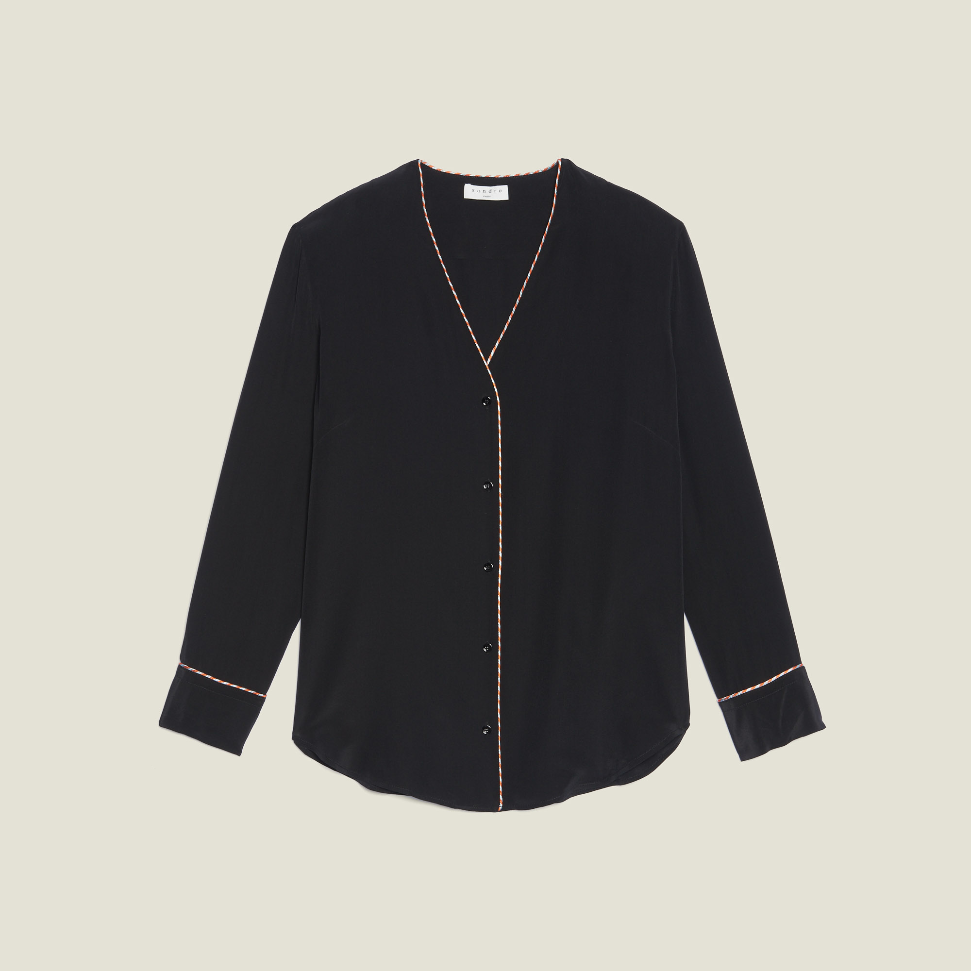 e920ad42024ae ... Low-cut silk shirt   Tops   Shirts color Ecru