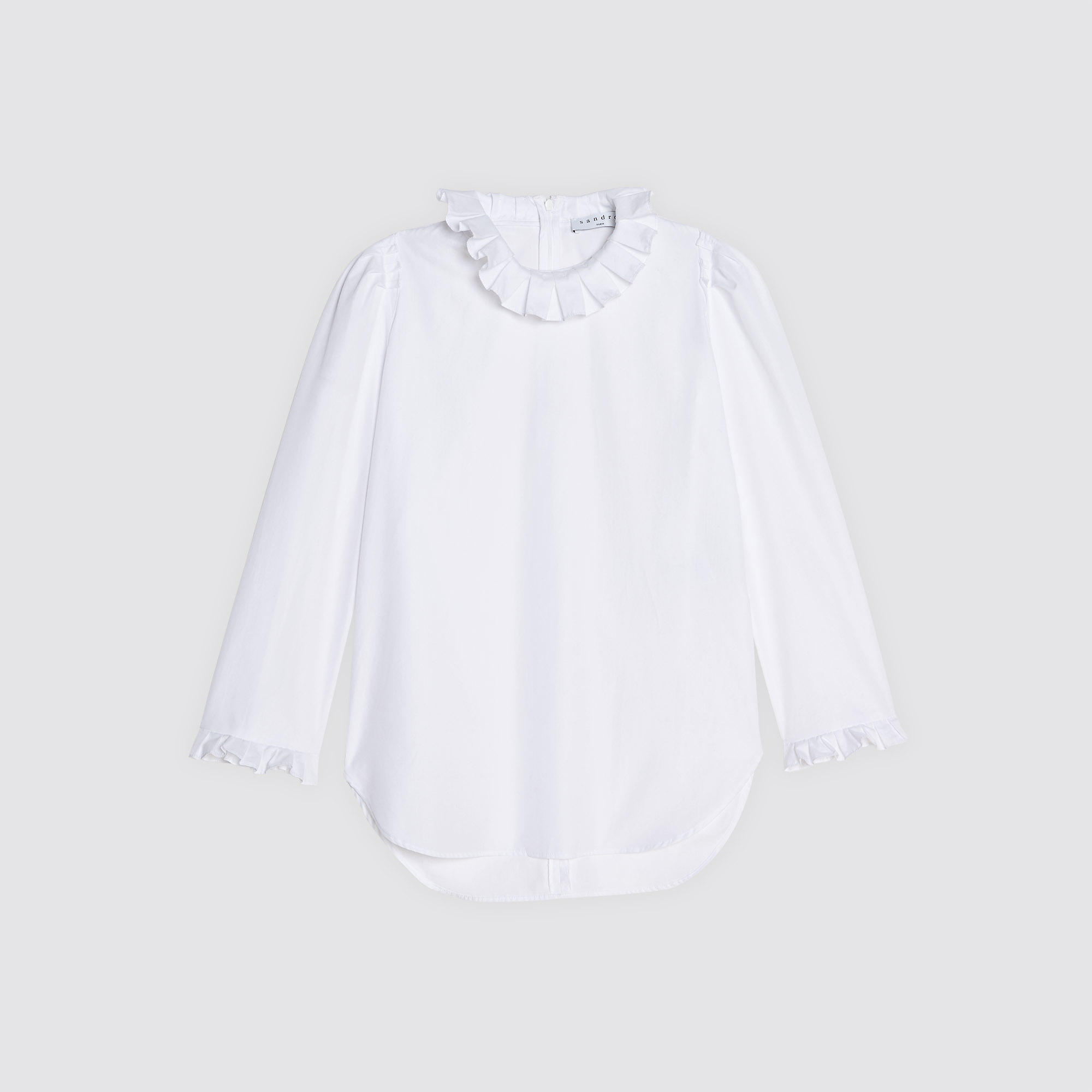 fa15a3359525d4 ... Cotton top with high ruffled neck : Tops & Shirts color White