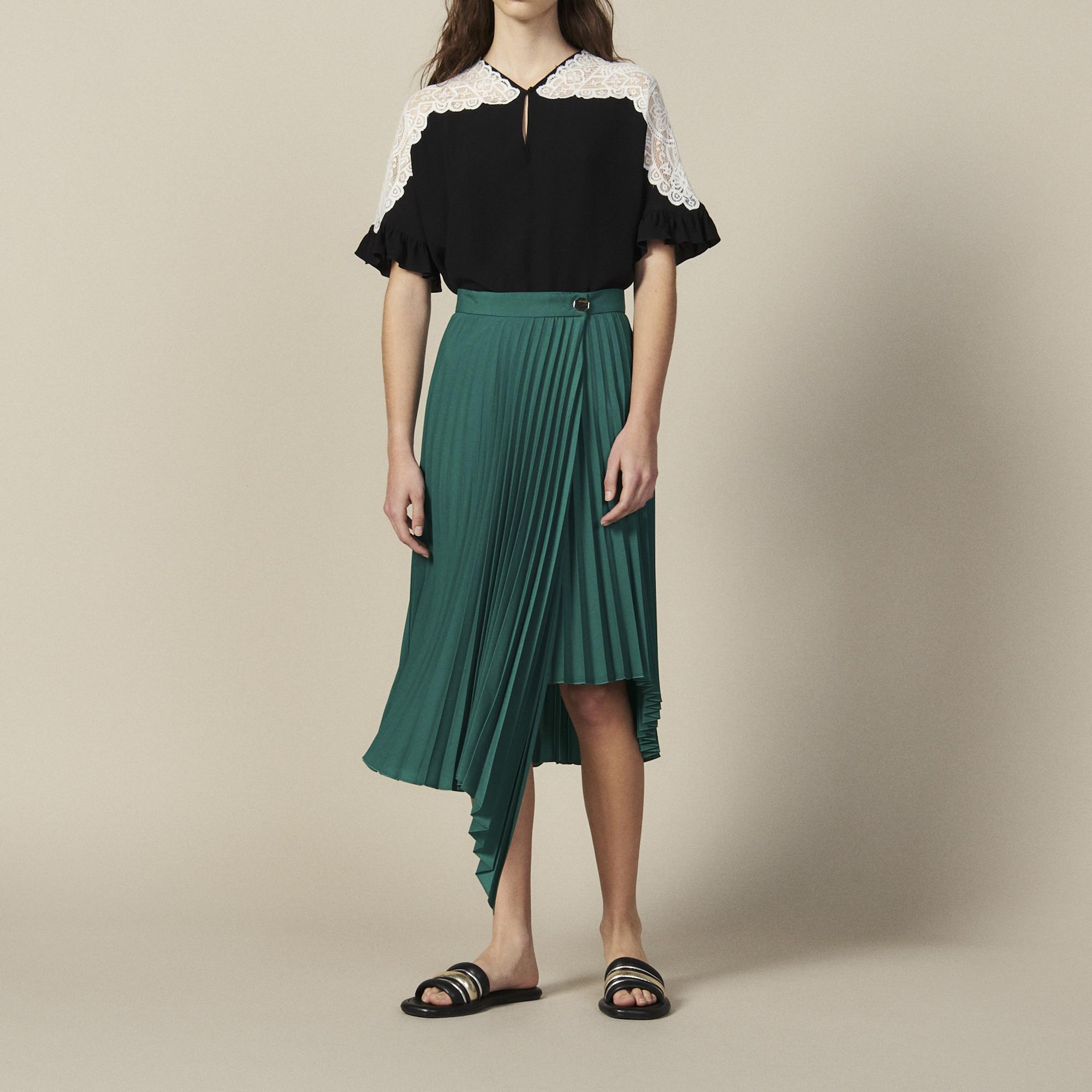 d89878506f Wraparound Pleated Asymmetric Skirt : Skirts color Green ...