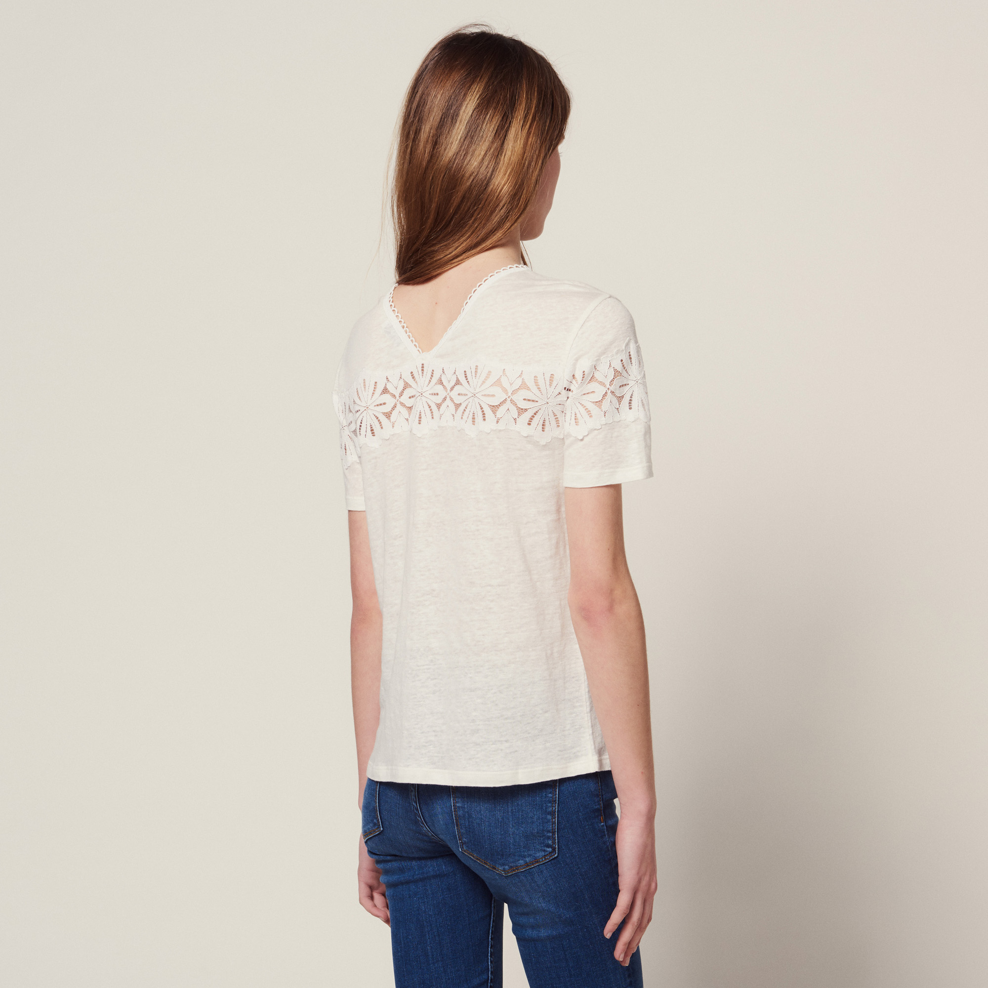 14025845c754cf ... Linen T-Shirt With Lace : Tops & Shirts color ...