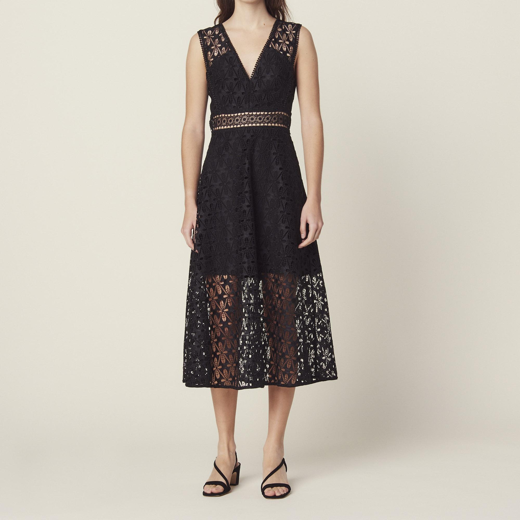 3b4432cb7b3 sandro-paris.com English guipure lace midi dress   Dresses color Black