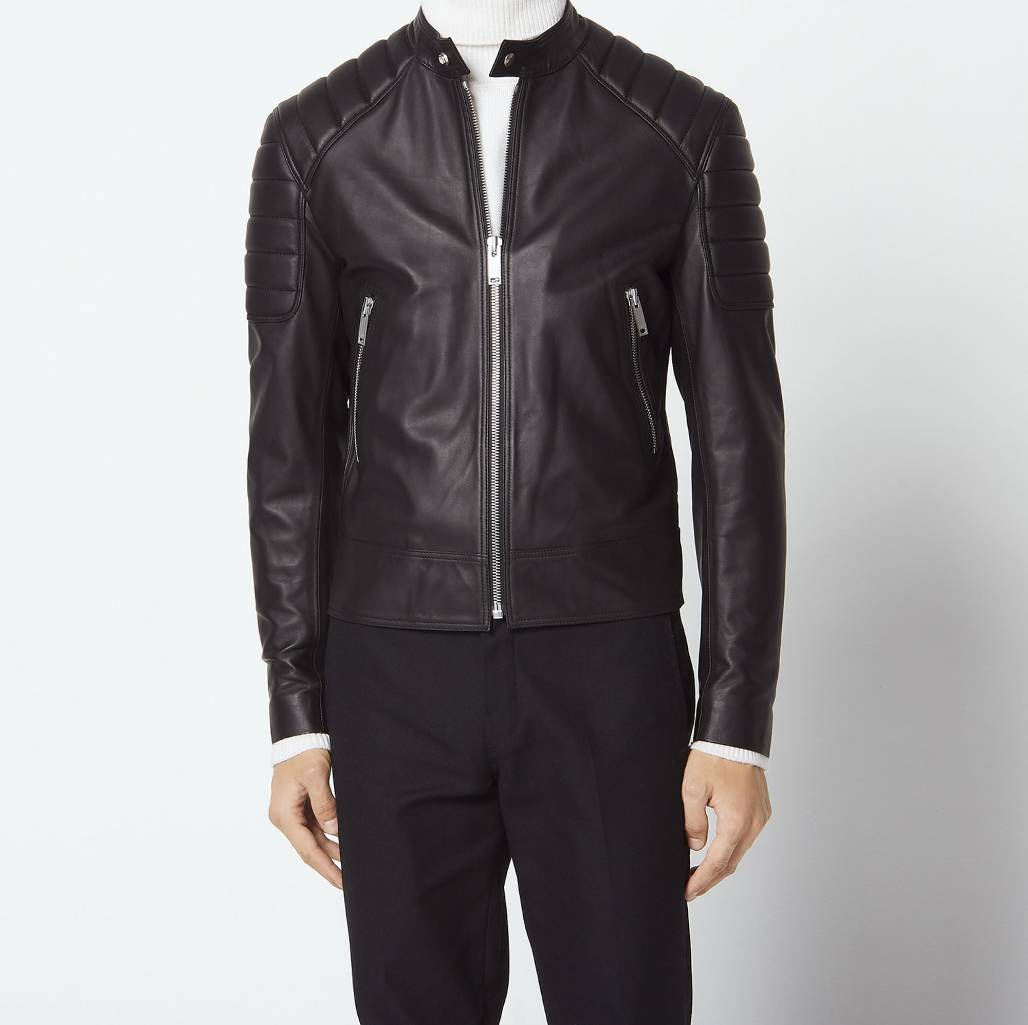 Leather jacket with quilted trims - Jackets - Sandro-paris.com