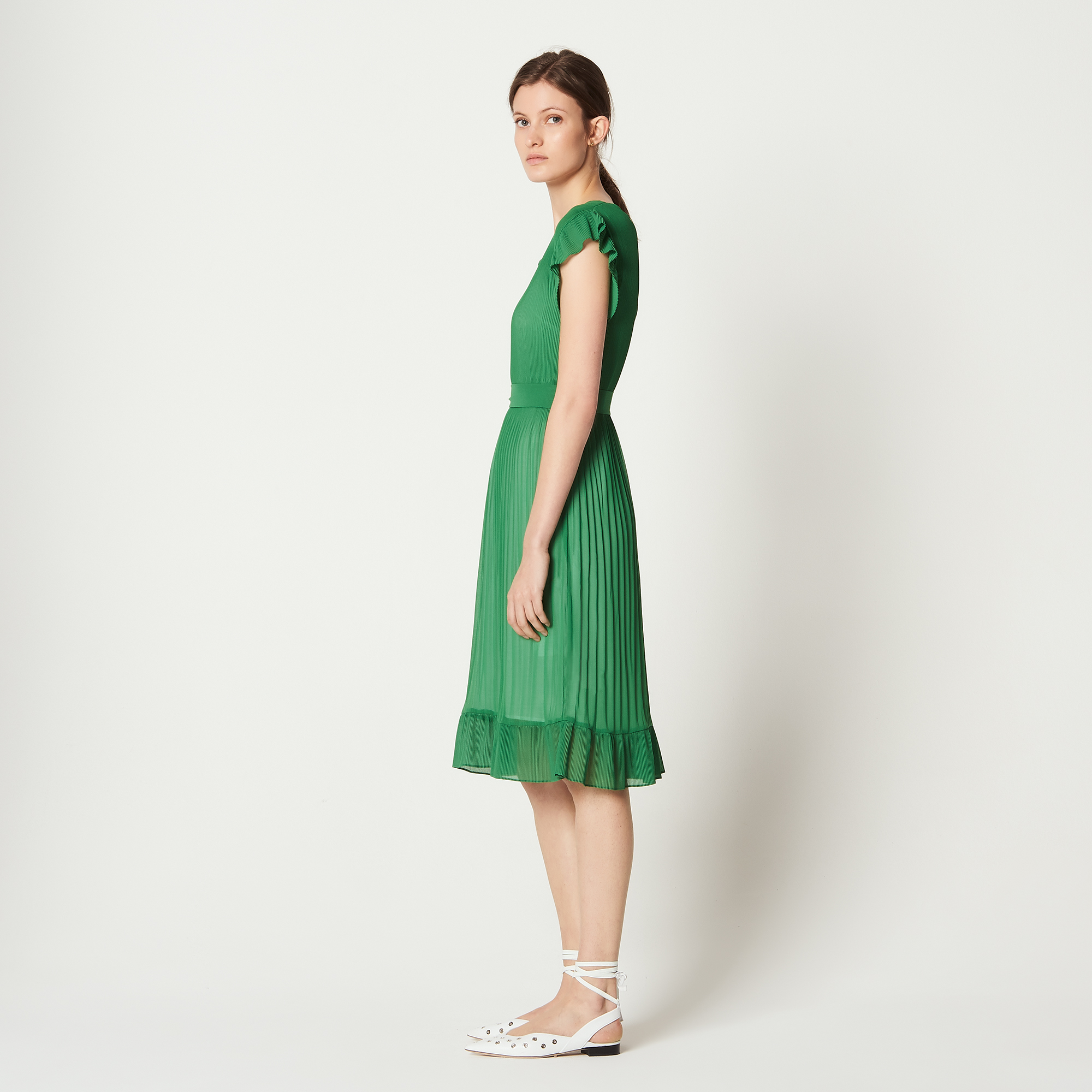 2b0542d1ec59 ... Ruffled dress with belt   Dresses color Green Grass ...