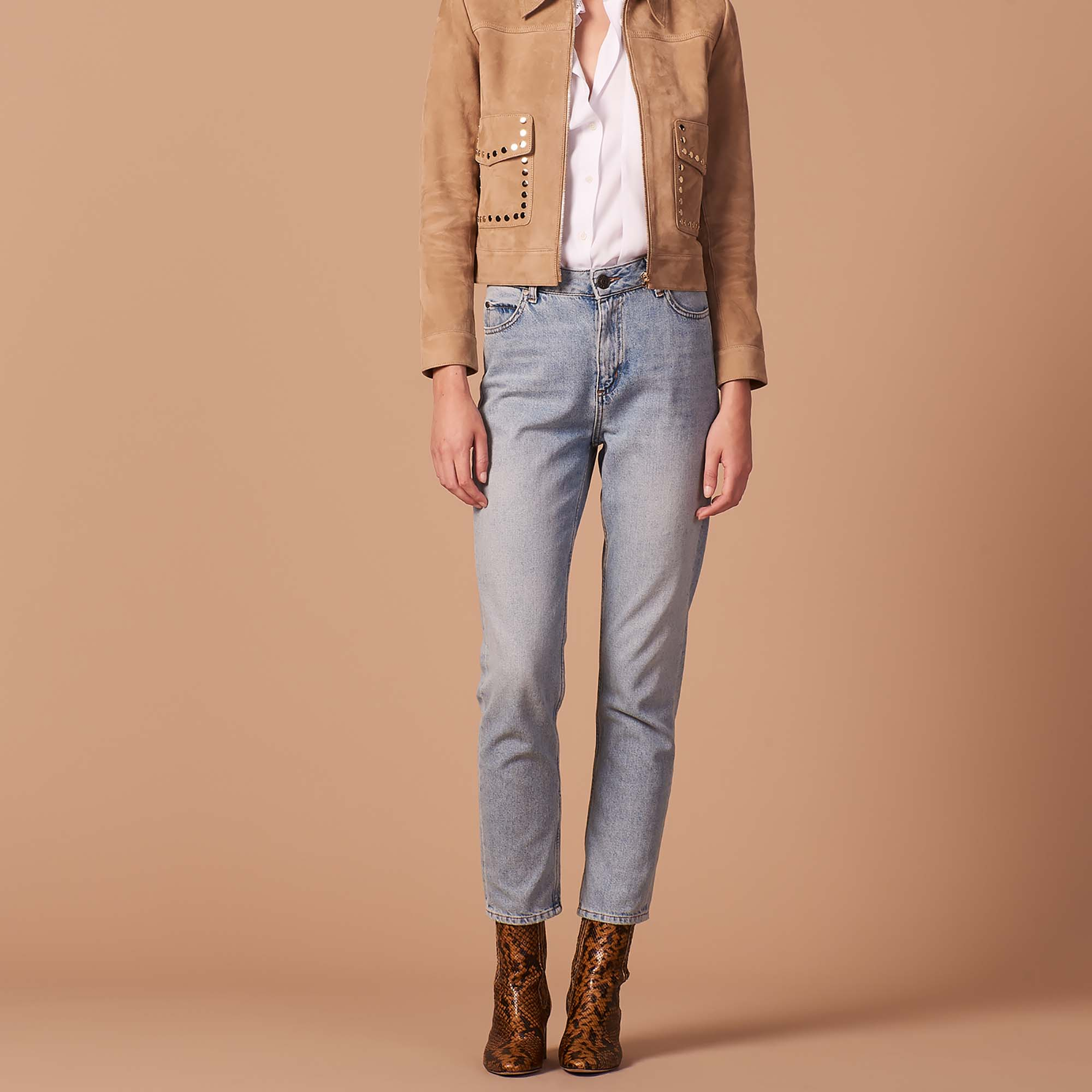 95d5624f532 Suede jacket with studs on the pockets : Jackets color Sand ...