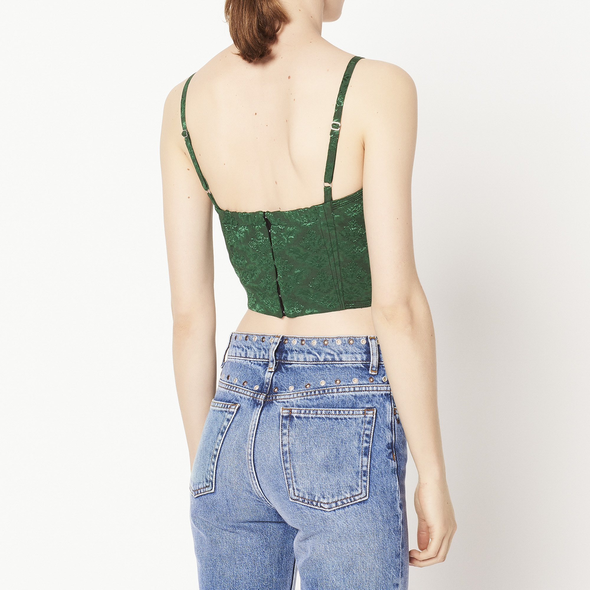 3e8879e25c2814 ... Jacquard crop top with thin straps   Tops   Shirts color Chlorophyll ...