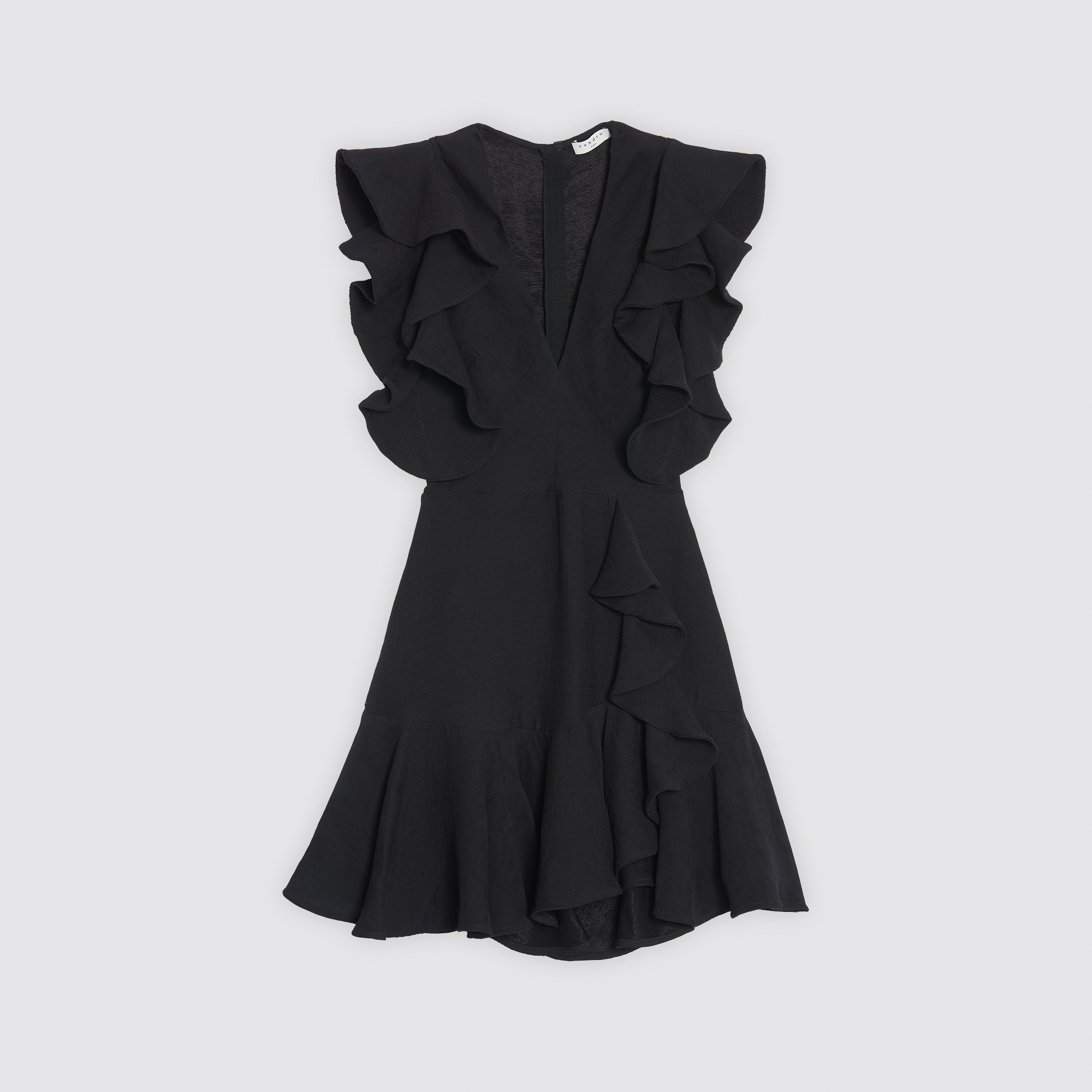 Scoop Neck Skater Dress With Ruffles Dresses Color Black