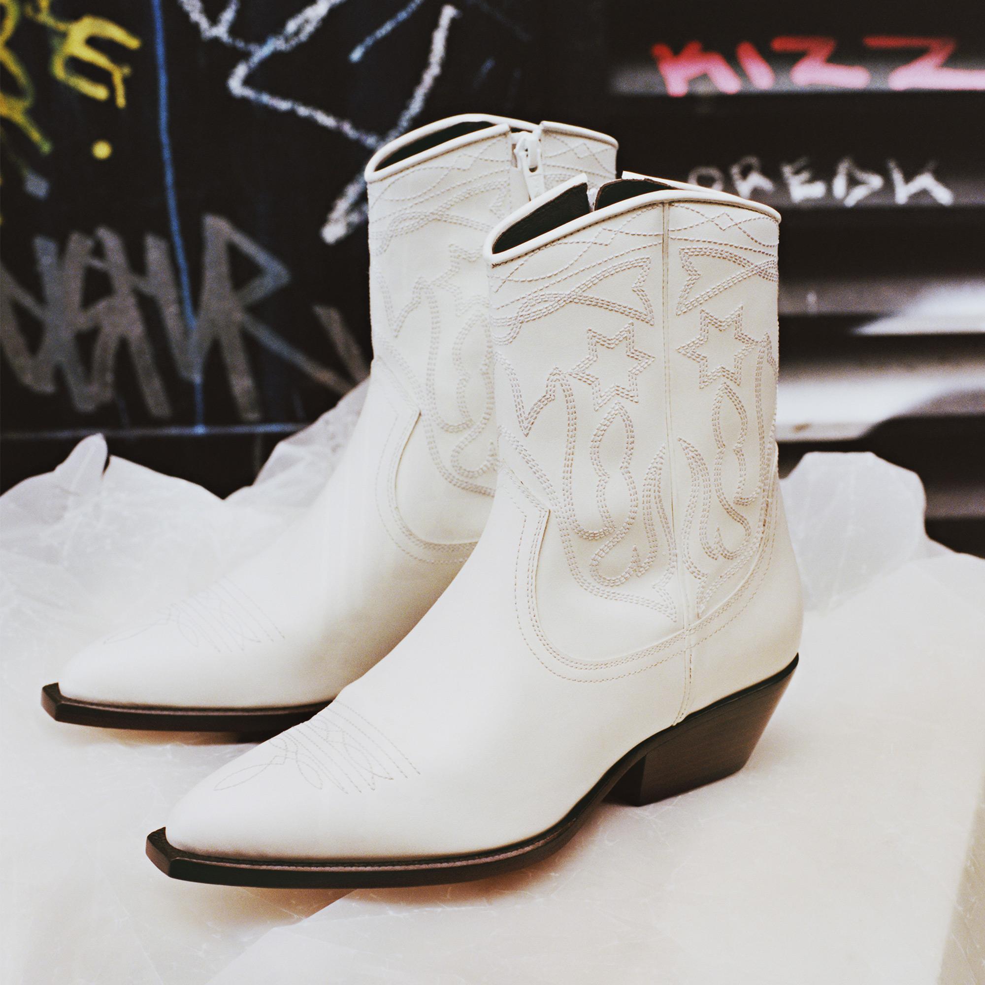 737f9d1e9c9 sandro-paris.com Leather cowboy boots   Shoes color White