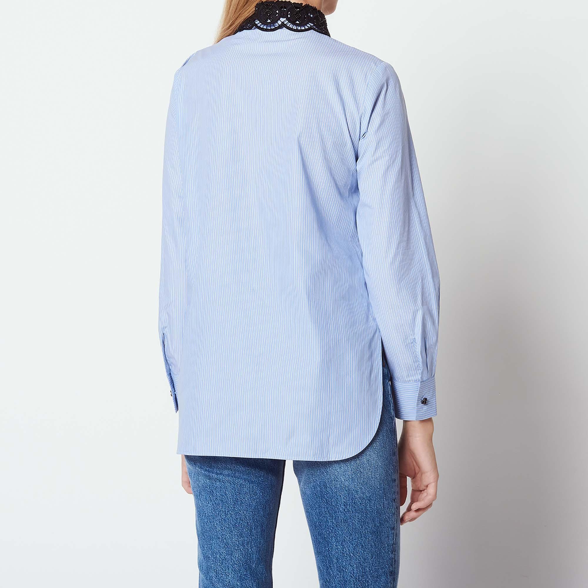 Shirt With Contrasting Peter Pan Collar Tops Shirts Sandro Paris
