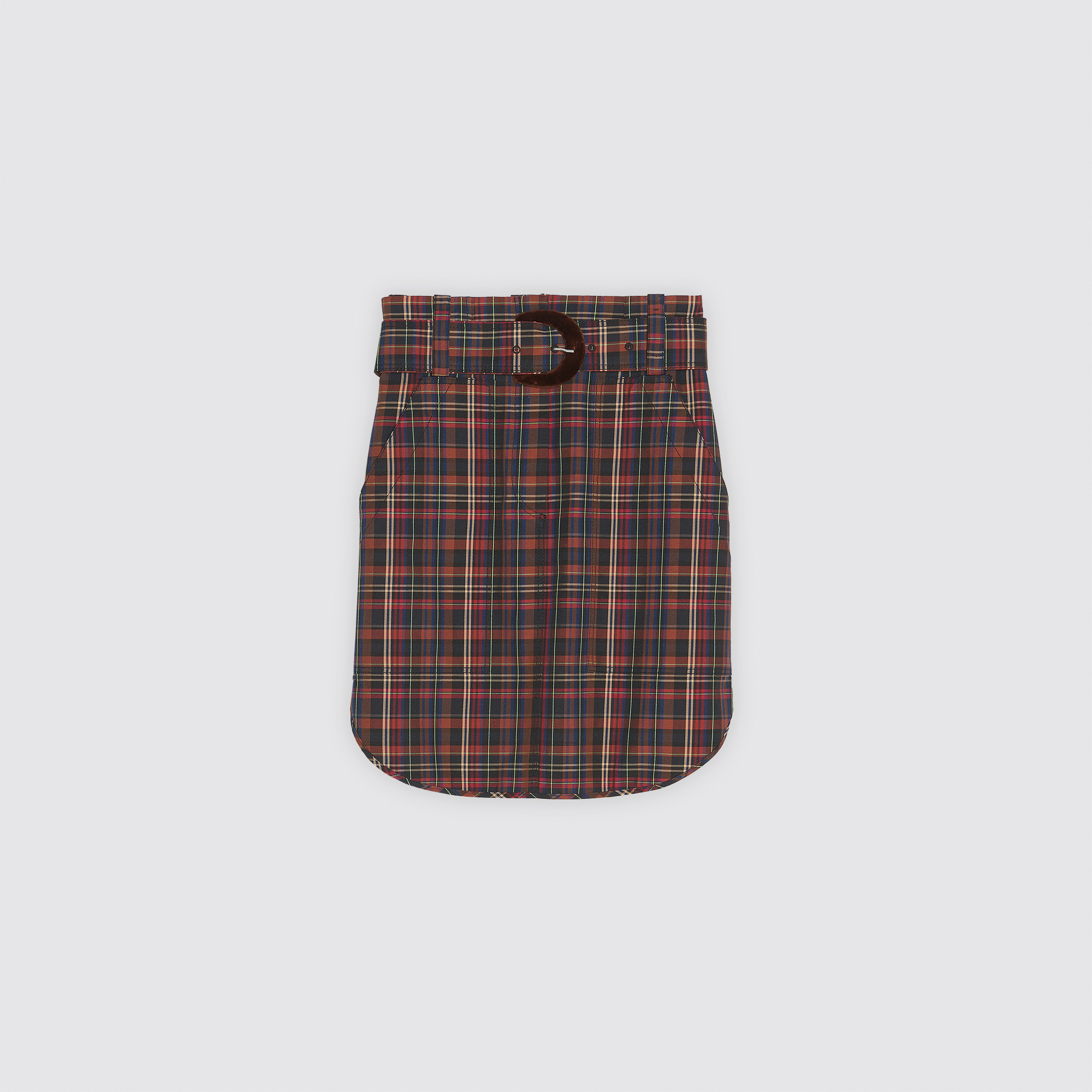 5fdeef2cc ... Short checked skirt with belt : Skirts color Brown