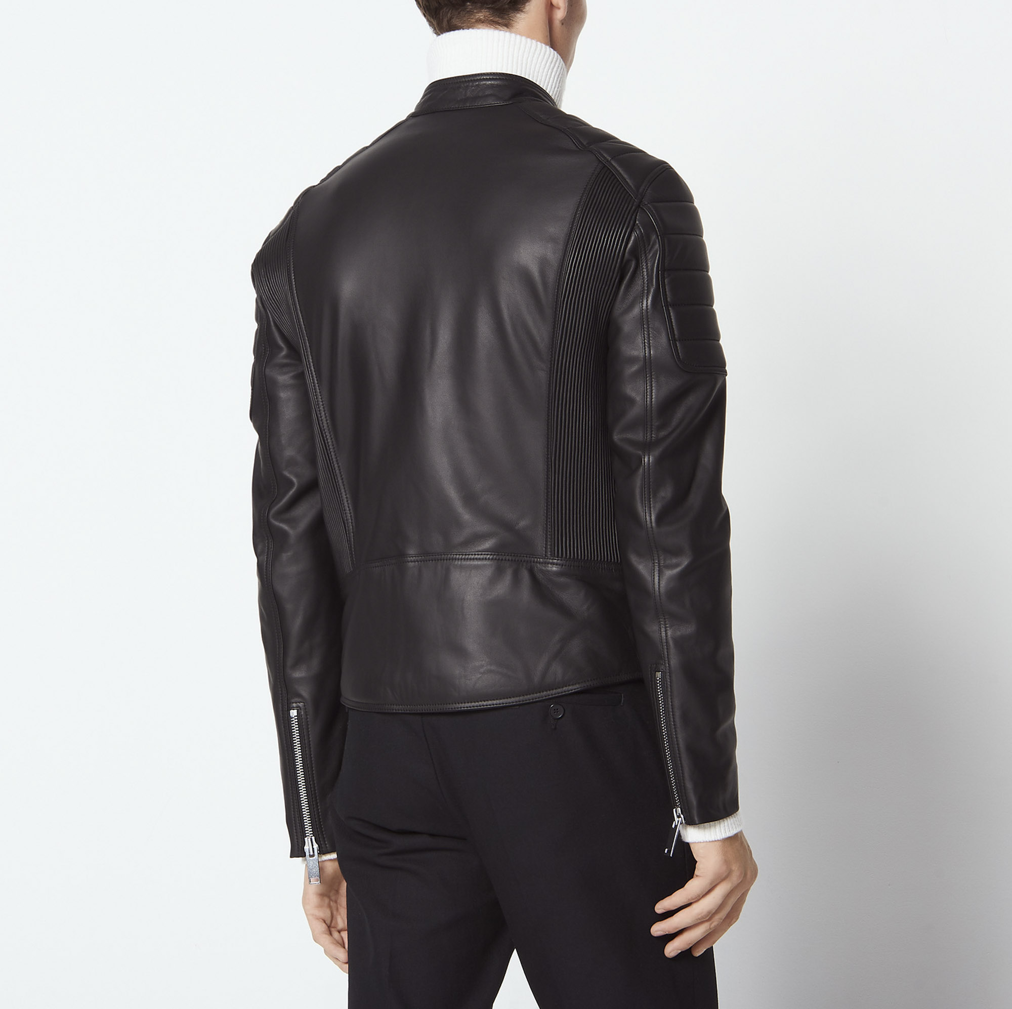 773abc0c4 Leather jacket with quilted trims
