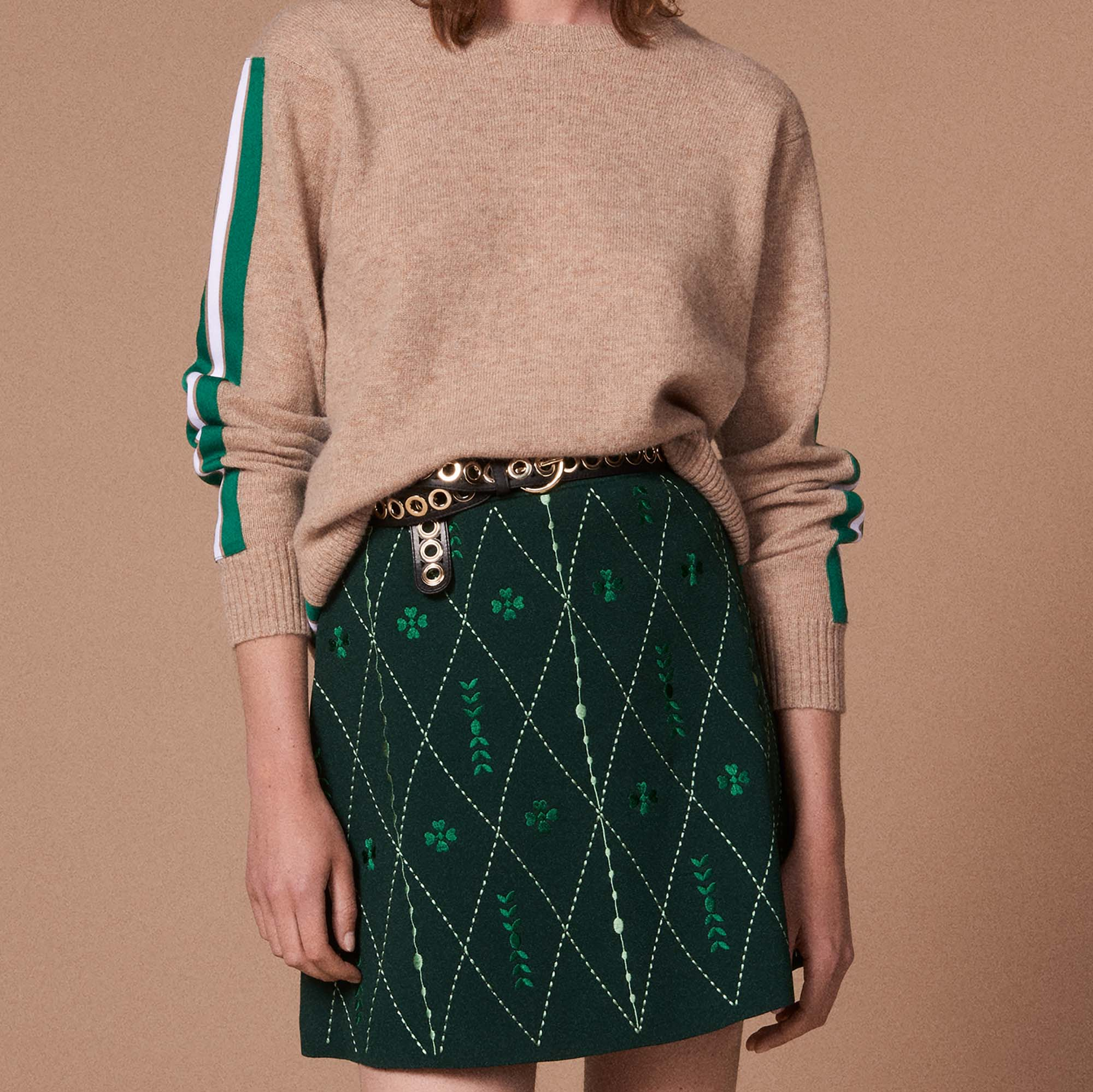 e71b3c351 Short embroidered knit skirt : Skirts color Chlorophyll ...