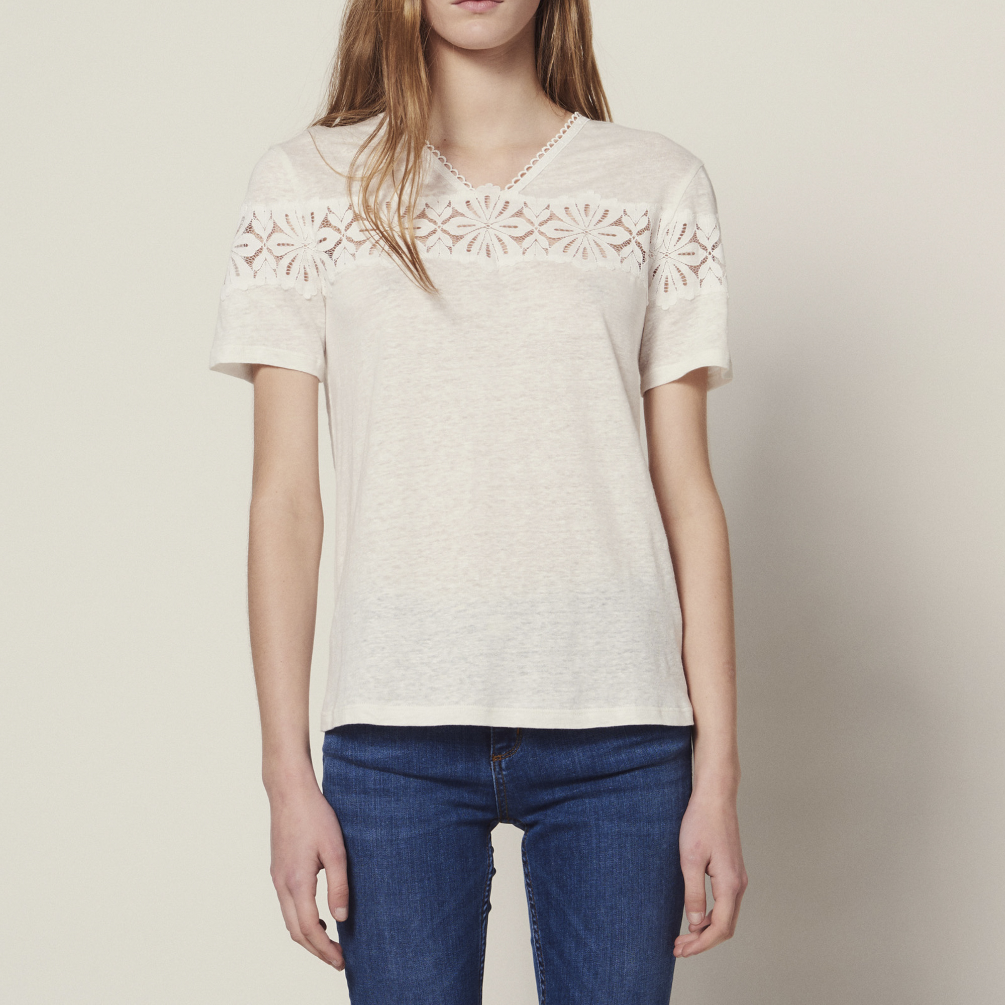 795b748b4bc40a Linen T-Shirt With Lace : Tops & Shirts color ...