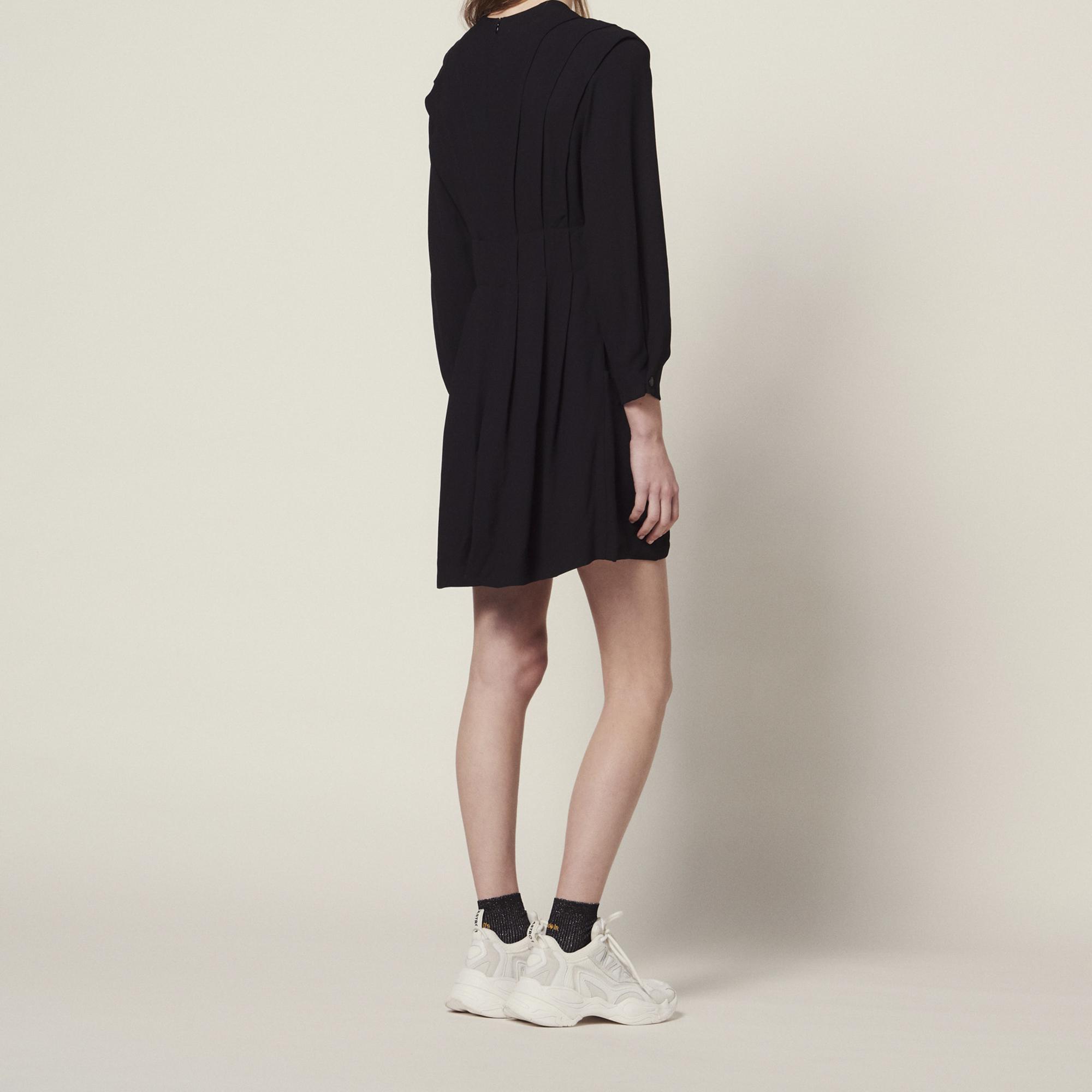 08a4f24728cf ... Short Flowing Dress With Pleats : Dresses color Black ...