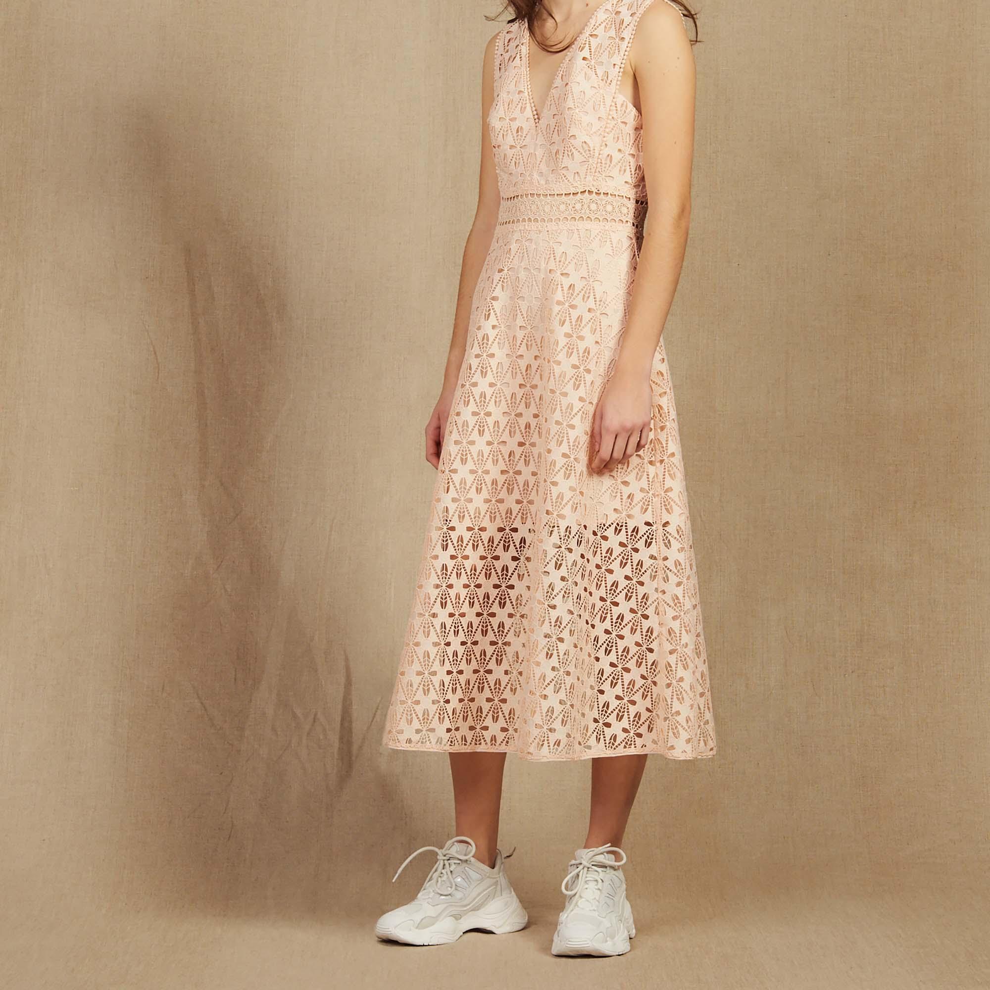 97c2b933 English Guipure Lace Midi Dress : Dresses color Pink ...