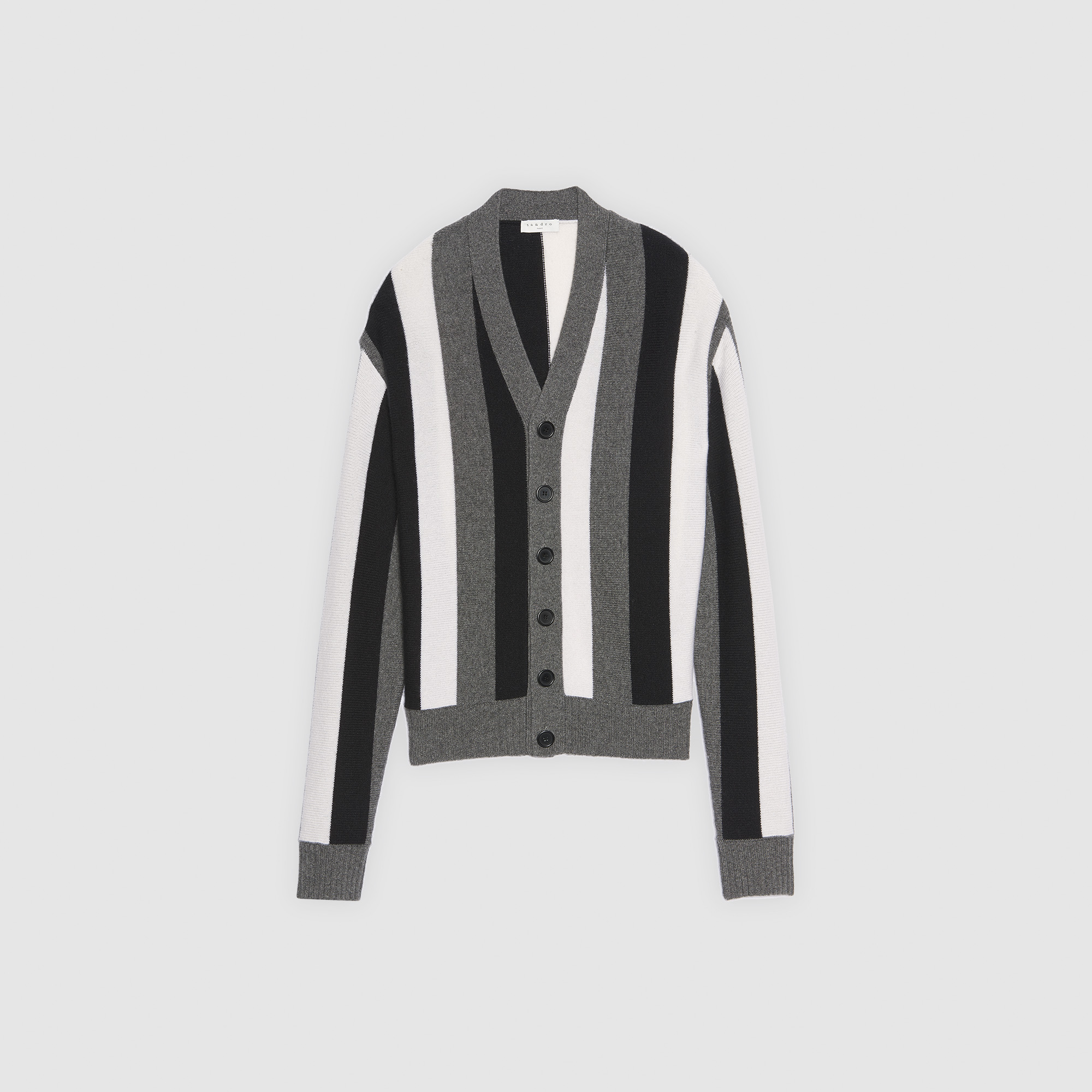 f4a16f0ef0e ... Striped cardigan   Sweaters color Charcoal Grey