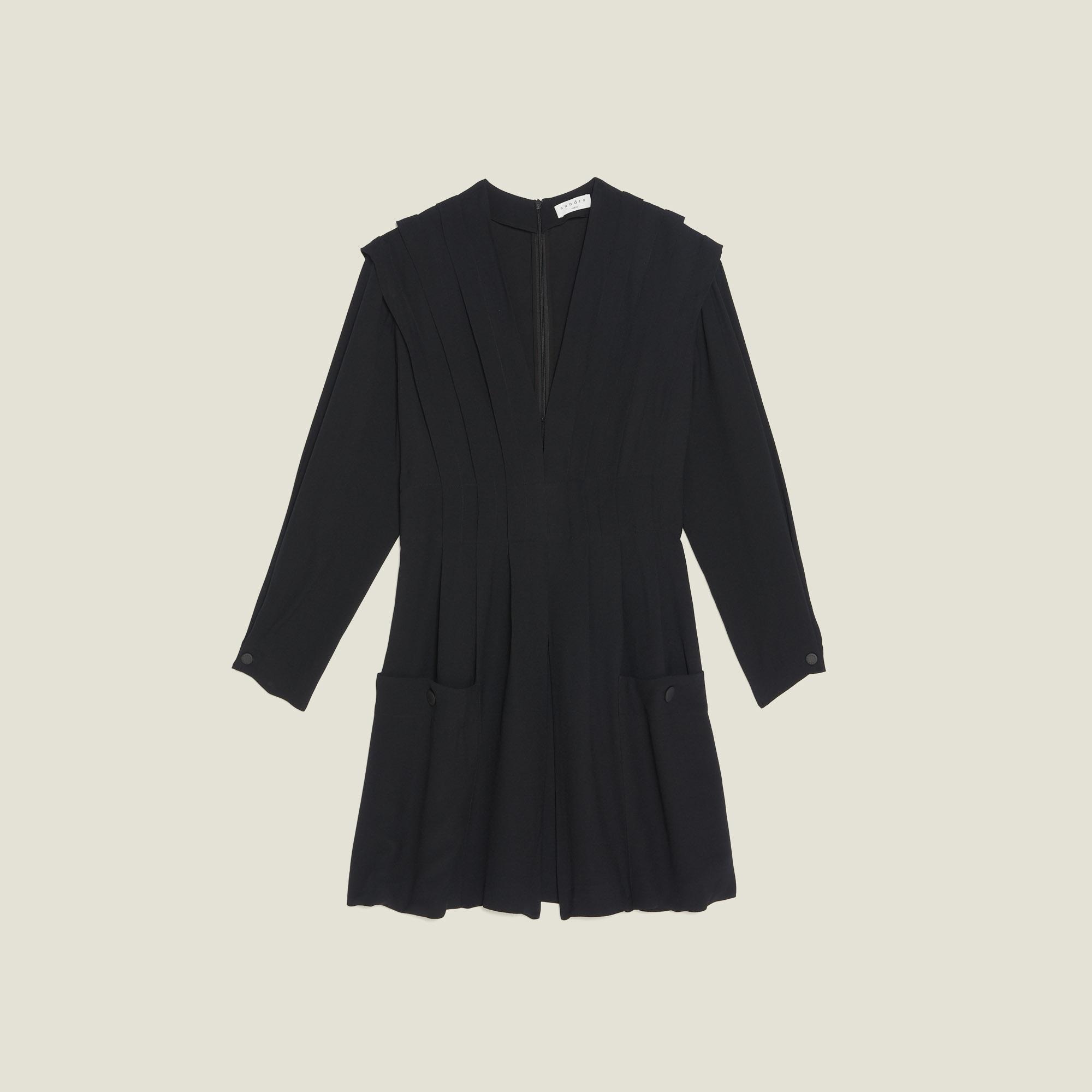 cfbd36ecb32d ... Short Flowing Dress With Pleats : Dresses color Black